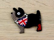 British Dog Embroidered Iron On Motif Applique  Black