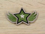 Star Patch Embroidered Iron On Motif Applique  Khaki Green