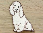 Dog Embroidered Iron On Motif Applique  Cream
