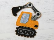 Digger Truck Embroidered Iron On Motif Applique  Yellow