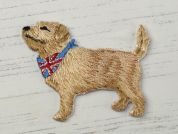 Dog Embroidered Iron On Motif Applique  Beige
