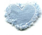 Denim Heart Patch Motif  Blue