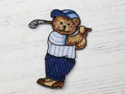 Golfing Teddy Embroidered Iron On Motif Applique  Blue