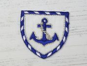 Nautical Badge Embroidered Iron On Motif Applique  Blue & White