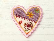 Heart Embroidered Iron On Motif Applique  Multicoloured