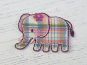 Tartan Elephant Embroidered Iron On Motif Applique  Multicoloured