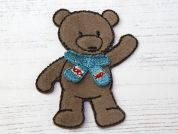 Teddy Embroidered Iron On Motif Applique  Brown