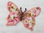 Butterfly Embroidered Iron On Motif Applique  Pink