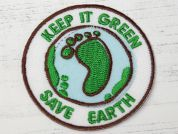 Save the Earth Embroidered Iron On Motif Applique  Green