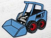 Truck Embroidered Iron On Motif Applique  Blue
