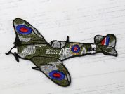 Spitfire Embroidered Iron On Motif Applique  Green