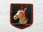 Horse Badge Embroidered Iron On Motif Applique  Multicoloured
