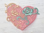 Heart Embroidered Iron On Motif Applique  Pink
