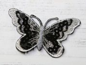 Butterfly Embroidered Iron On Motif Applique  Black & Silver
