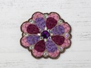 Sequin Flower Embroidered Iron On Motif Applique  Purple