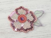 Sequin Flower Embroidered Iron On Motif Applique  Multicoloured