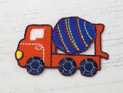 Cement Truck Embroidered Iron On Motif Applique  Blue & Orange