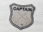 Captain Badge Embroidered Iron On Motif Applique  Silver