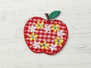 Gingham Apple Embroidered Iron On Motif Applique  Red