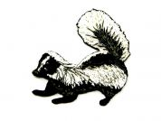 Badger Embroidered Iron On Motif Applique  Black & White