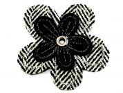 Herringbone Flower Embroidered Iron On Motif Applique  Black & White