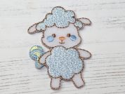 Baby Sheep Embroidered Iron On Motif Applique  Blue
