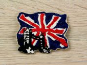 Flag with Tower Bridge Embroidered Iron On Motif Applique  Multicoloured