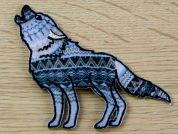 Aztec Wolf Embroidered Iron On Motif Applique  Blue