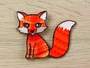 Aztec Fox Embroidered Iron On Motif Applique  Orange