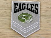 Eagles Embroidered Iron On Motif Applique  Grey