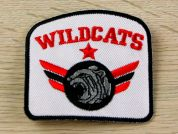 Wildcats Embroidered Iron On Motif Applique  Black & Red