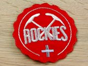Rockies Embroidered Iron On Motif Applique  Red