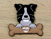 Dog with Bone Embroidered Iron On Motif Applique  Black