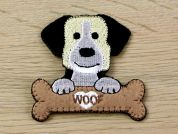 Dog with Bone Embroidered Iron On Motif Applique  Black & Brown
