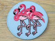 Round Flamingo Embroidered Iron On Motif Applique  Blue & Pink