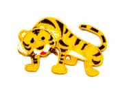 Tiger Embroidered Iron On Motif Applique  Orange