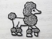 Poodle Dog Embroidered Iron On Motif Applique  Black & White