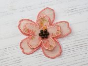 Layered Flower Iron On Motif Applique  Pink