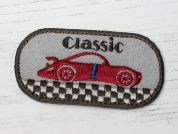 Classic Car Embroidered Iron On Motif Applique  Beige