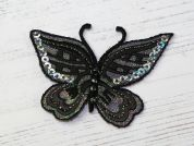 Sequin Butterfly Embroidered Iron On Motif Applique  Black
