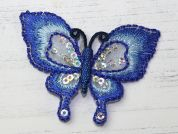 Sequin Butterfly Embroidered Iron On Motif Applique  Blue
