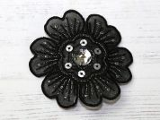 Flower Embroidered Iron On Motif Applique  Black