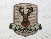 Stag Badge Embroidered Iron On Motif Applique  Beige