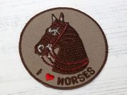 I Love Horses Badge Embroidered Iron On Motif Applique  Brown
