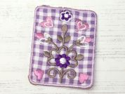Flower Patch Embroidered Iron On Motif Applique  Lilac