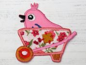 Bird in Barrow Embroidered Iron On Motif Applique  Pink