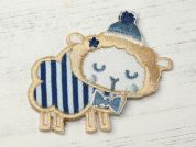 Sheep Embroidered Iron On Motif Applique  Blue & Cream