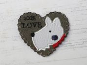 Dog Love Embroidered Iron On Motif Applique  Multicoloured