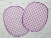 Gingham Iron On Oval Patches  Lilac