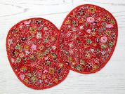 Floral Iron On Oval Patches  Red